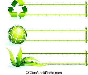 bambus, elemente, umrandungen