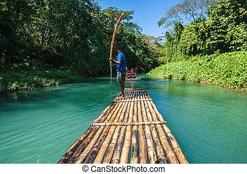 bambus, fluß, tourismus, in, jamaika