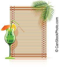bambus, handfläche, matte, cocktail