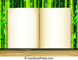 bambus, hintergrund, schablone