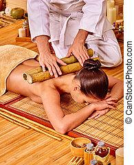 bambus, kobieta, massage., dostając