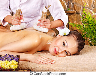 bambus, kobieta, spa., masaż, dostając