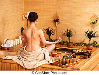 bambus, massage, an, spa, .