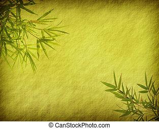 bambus, na, stary, grunge, starożytny, papier, struktura