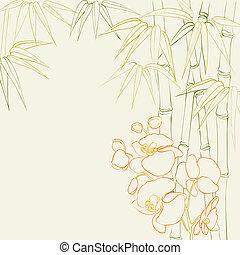 bambus, orchid., nóżki