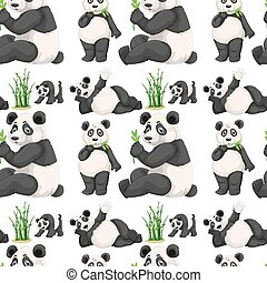bambus, seamless, panda