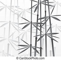 bambus, wektor, las, ilustracja