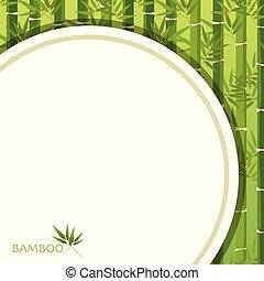 bambus, zielone tło, szablon