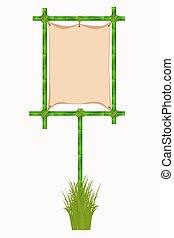 bambusz, frame., vektor, ábra, elszigetelt, white, háttér