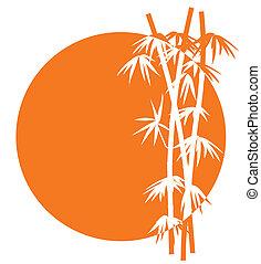 bambusz, napnyugta, ikon
