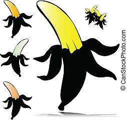 banánok, vektor, ábra