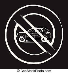 Ban Car. A Car Painted in White Chalk on a School Blackboard. Icon. Sketch. Symbol. Sign.