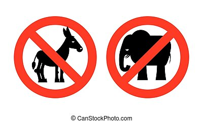 Ban elephant. Stop donkey. Prohibited Symbols USA political parties. Crossed-out animals. Emblem against American Democrat and Republican. Elections in United States. Red prohibition sign