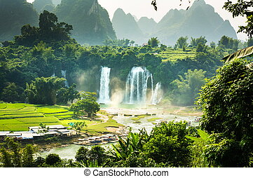 Ban Gioc Detian Falls with unique natural beauty on the...