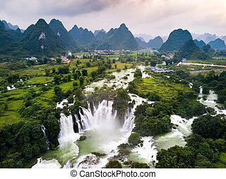 Ban Gioc Detian waterfall on China and Vietnam border aerial...