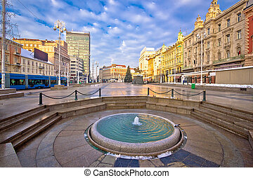 Ban Jelacic square in Zagreb advent view, capital of Croatia