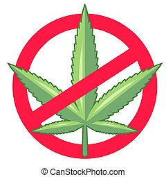ban marijuana. drugs are illegal. flat vector illustration.