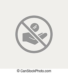 Ban of alms - Flat and isolated vector eps illustration icon...