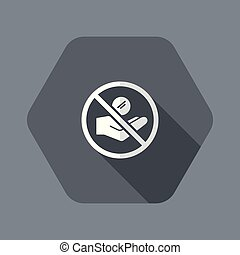 Ban of alms - Flat and isolated vector illustration icon ...