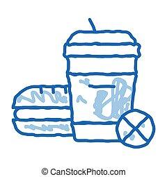 ban on junk food doodle icon hand drawn illustration