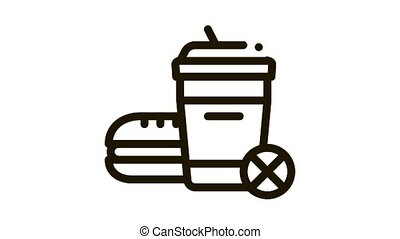 ban on junk food Icon Animation. black ban on junk food animated icon on white background