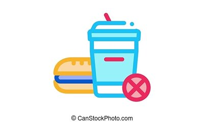 ban on junk food Icon Animation. color ban on junk food animated icon on white background
