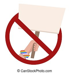 Ban on rallies. Flat illustration of hand with banner in a red prohibition sign. Forbiddance on pickets and meetings of people. Ban on parade. Vector template