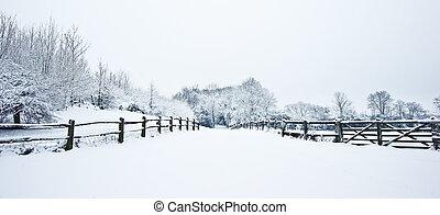 bana, genom, engelsk, rurual, bygd, in, vinter, med, snö