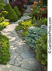 bana, sten trädgård, landskapsarkitektur