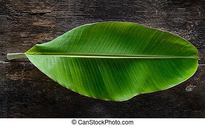 banaan blad, op, hout