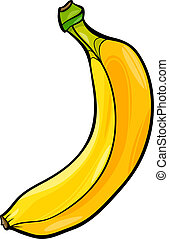 banaan, fruit, spotprent, illustratie