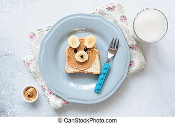 banaan, pindakaas, roosteren, op, een, blauwe plaat, maaltijd, voor, geitjes