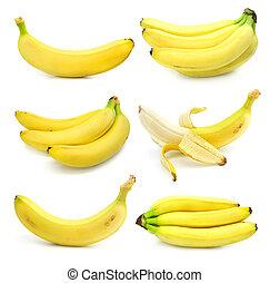 banaan, witte , vrijstaand, verzameling, vruchten
