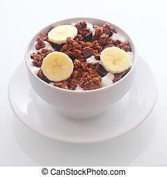 banan, śniadaniowe zboże, zachwycający, czekolada