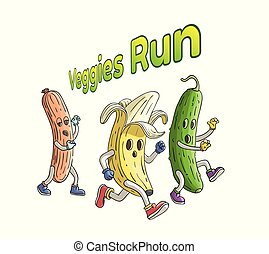 Banana and cucumber run from zombie sausage. Veggies run with text