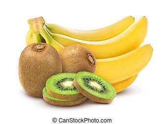 Banana and kiwi isolated on white background