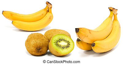 Banana and kiwi isolated on white