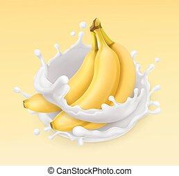 Banana and milk splash. Fruit and yogurt. Realistic...
