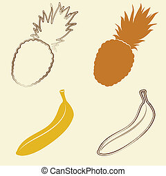 banana and pineapple icons - vector illustration