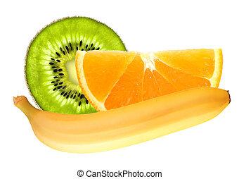 Banana and slices of kiwi and orange isolated on white background