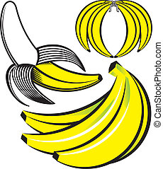 Banana Art - Clip art of three different banana icons