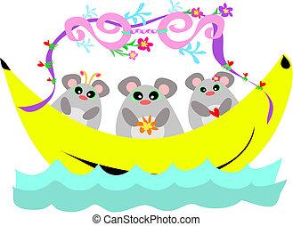 banana, barca, con, uno, trio, di, topi