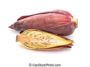 banana blossom isolated on white background