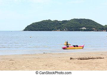 Banana boat in the sea