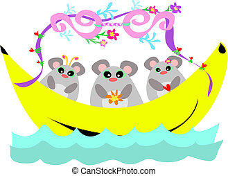 Banana Boat with a Trio of Mice - These three Mice are on a...