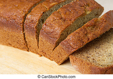 banana bread closeup - closeup of banana bread on a cutting...