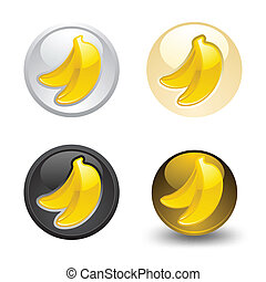 Banana button, set, web 2.0 icons
