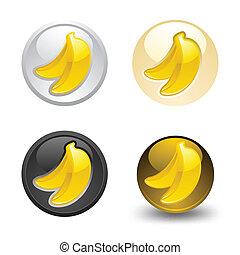 Banana button, set, web 2.0 icons