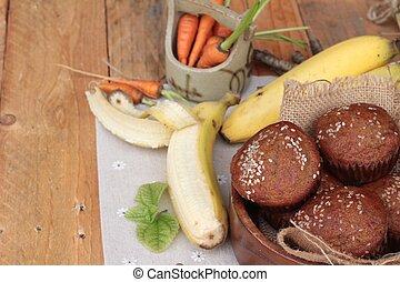 Banana cake of delicious and banana ripe.