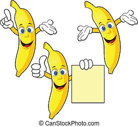 banana, cartone animato, carattere